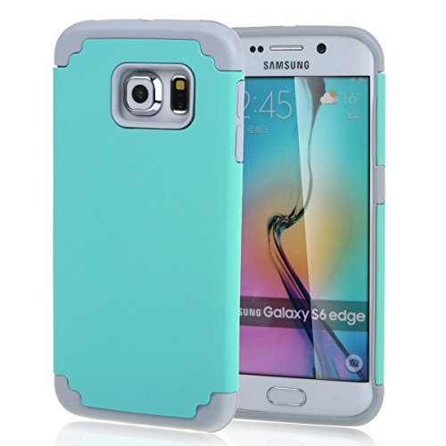 2 in 1 Case for Galaxy S6 edge , Hybrid Combination [ Silicone & PC ] Dual Layer Defender Bumper Case Protective Rear Back Cover for Samsung Galaxy S6 edge SM-G925 Mint Green
