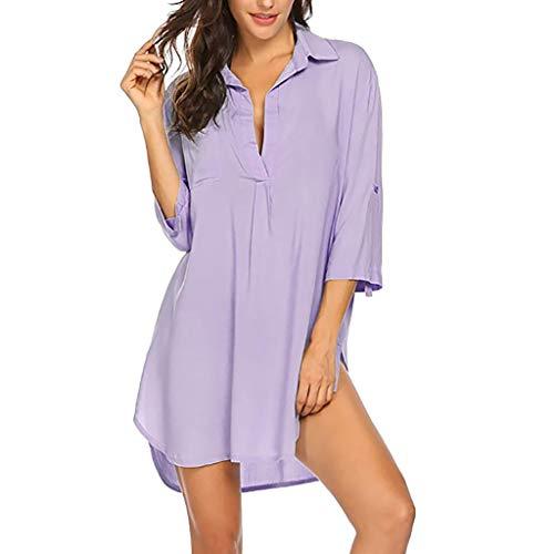 〓COOlCCI〓Women's Swimsuit Beach Cover Up Shirt Bikini Beachwear Bathing Suit Beach Dress S-XXXL Purple (Salvage Short Sleeve Jersey)
