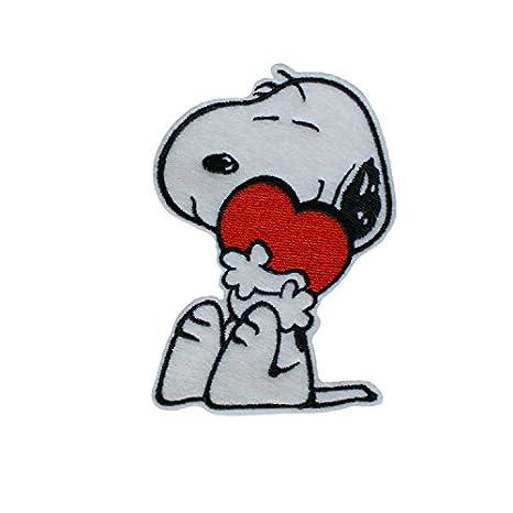 Corazón Snoopy del amor Hierro y Coser en Aplicado Bordado Parche de fieltro: Amazon.es: Hogar