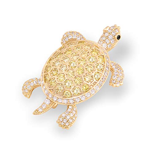 (OBONNIE Vintage Inspired Golden Austrian Crystal Turtle Tortoise Animal Brooch Pin Hat Scarf Sweater Pin)