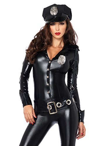 Leg Avenue 4 Piece Officer Payne Lame Police Jumpsuit Costume, Black, (Halloween Costumes Police)