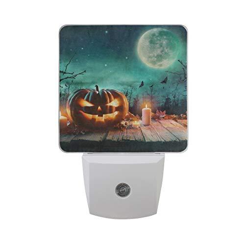 Night Light Halloween Pumpkin Wooden Full Moon Auto Sensor LED Dusk Nightlight Decorative to Dawn Plug in Indoor for Kids Childrens 2 Pack -