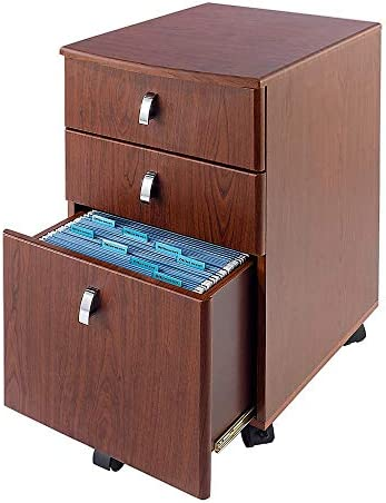Realspace Mezza 19 D 3-Drawer Mobile File Cabinet, Cherry Chrome