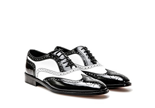 Customized Shoes - Black and White Shiny Leather Oxford Wing Brogue - Man by Design Italian Shoes