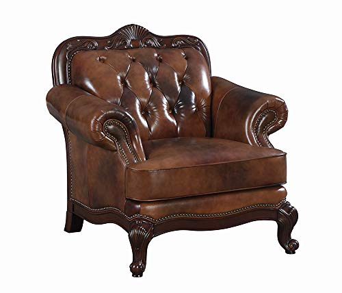 (Victoria Rolled Arm Leather Chair Warm Brown)