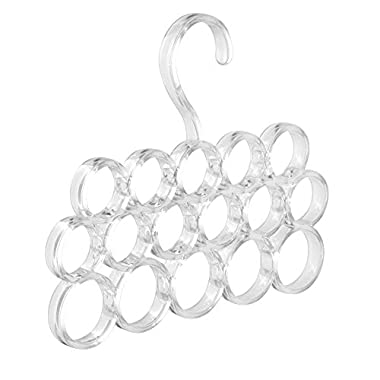 InterDesign Clarity Scarf Hanger, No Snag Storage for Scarves, Ties, Belts, Shawls, Pashminas, Accessories - 16 Loops, Clear