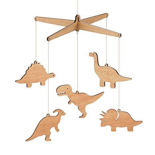 Price comparison product image Wooden Dinosaur Nursery Baby Mobile - Tasmanian Oak / Flat Pack (T-rex, Apatosaurus, Triceratops, Stegosaurus, Parasaurolophus)