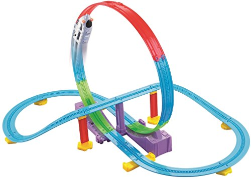Friends Roller Coaster (Haktoys LOCO Track Racer Roller Coaster Building Educational Entertaining Playset | Futuristic Train Locomotive with LED Headlights | Safe and Durable | Gift & Fun Toy for Toddlers and Kids)