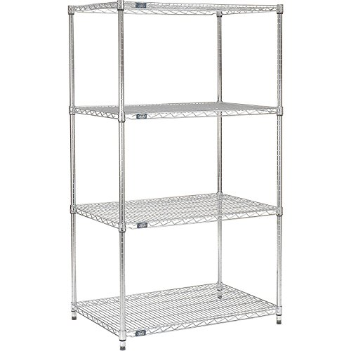 Nexel 188288 4-Shelf Wire Shelving Unit, Chrome Finish, 14