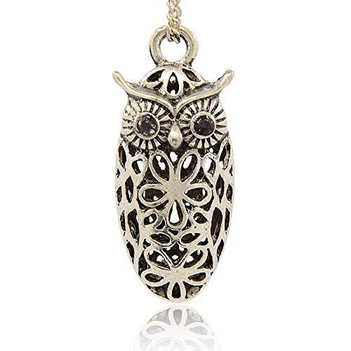 Antique Silver Plated Alloy Rhinestone Hollow Pendants Owl Halloween Jewelry Jet