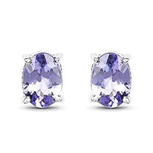 Johareez 1.50 cts Tanzanite .925 Sterling Silver Rhodium Plated Earrings for Women
