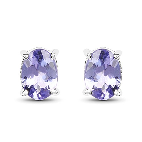 1.50 Carat Genuine Tanzanite .925 Sterling Silver Earrings