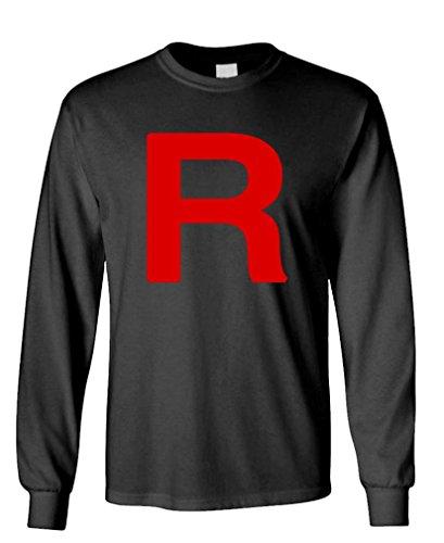 The Goozler Team Rocket - Jessie James Meowth Funny Long Sleeved T-Shirt, XL, Black