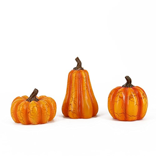 Romingo Small Led Pumpkin Light for Fall and Halloween Decoration, Set of 3
