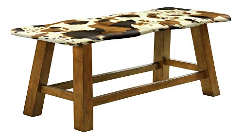 Counter Height Wavy Bench Featuring Your Choice of an Animal Print Fabric Covered Padded Seat Cushion (Cowhide Faux Fur) ()