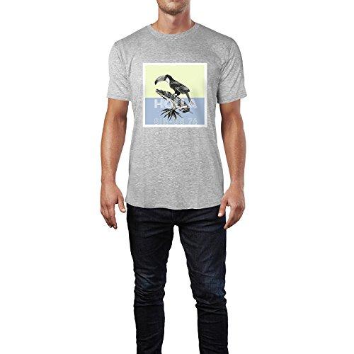 SINUS ART® Tropischer Vogel auf Bananenblatt Herren T-Shirts in hellgrau Fun Shirt mit tollen Aufdruck
