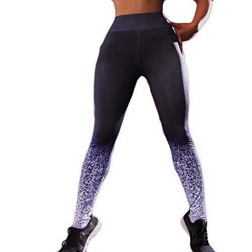 iHPH7 Women Yoga Running Pants Gym Workout Fitness Clothes Sport Leggings Digital Printed Jacquard Hip and Waist Fitness Yoga Pants (XL,Purple)