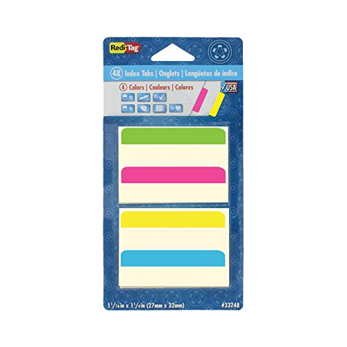 Redi-Tag Write-On Removable Index Tabs, 2 x 11/16 Inches, 48 Tabs per Pack, 4 Assorted Colors (33248) -