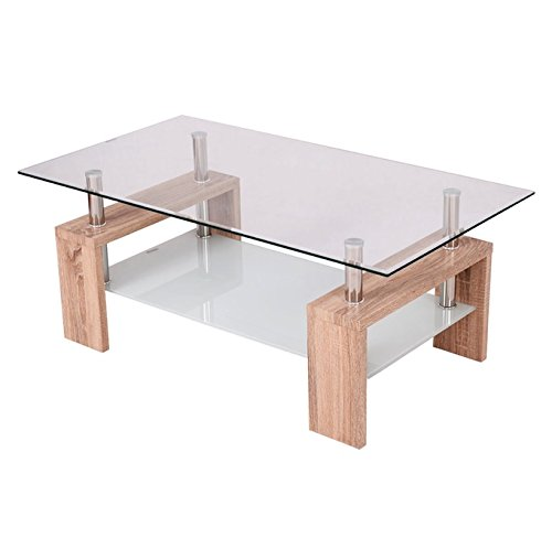 Rectangular Tempered Glass Coffee Table With Storage Shelf Wooden Color Living Room Home Décor Furniture Modern Design Perfect For Placing TV Remotes Books Magazines Photo Albums - Kidney Shape Accent Table
