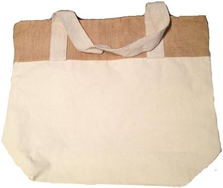 Natural y negro de arpillera de yute y algodón Tote bolsa de asas con cierre con cremallera algodón tamaño 20