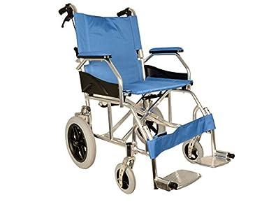 GIMA ref 43250 Silla de ruedas modelo Queen de aluminio, tela azul claro, asiento 46cm, ultra ligera 9.5kg, ruedas delanteras 15cm, ruedas traseras 30 cm con frenos de bloqueo