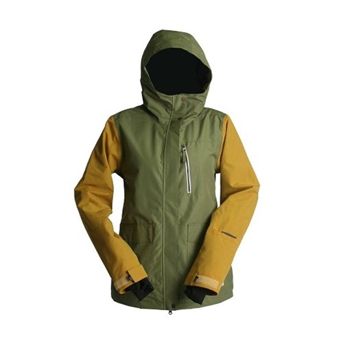 Ride Womens Bryant Ski Snowboard Jacket Army Green Gold S...