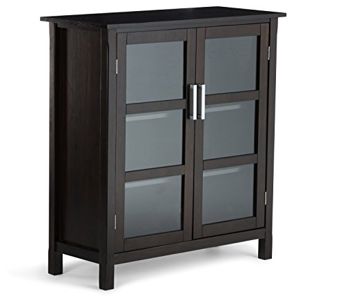 Glass Walnut Bookcase (Simpli Home Kitchener Solid Wood Storage Cabinet, Medium, Walnut Brown)