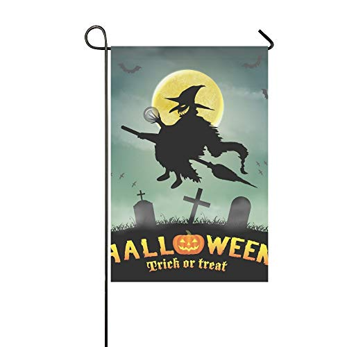 Home Decorative Outdoor Double Sided Halloween Silhouette Flying Witch Night Graveyard Garden Flag,house Yard Flag,garden Yard Decorations,seasonal Welcome Outdoor Flag 12 X 18 Inch Spring Summer Gift