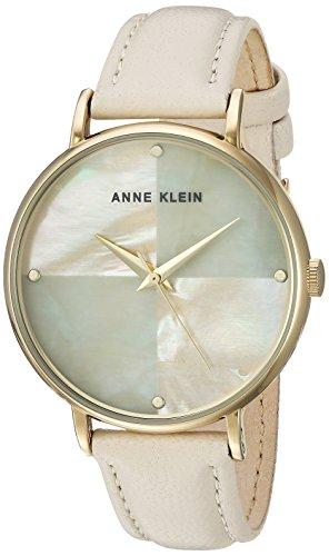 Anne Klein Women's Quartz Metal and Leather Dress Watch, Color:Beige (Model: AK/2790IMIV) (Beige Leather Watch)