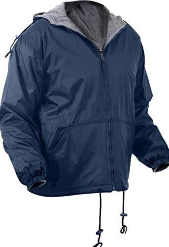 Jacket Navy Blue Reversible Fleece Lined Jacket Military Hooded Nylon Coat Get 1 Pcs (X-Large)