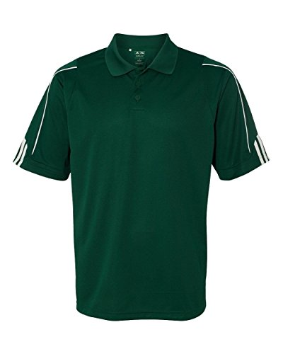 Adidas Golf A76 Climalite 3 stipe cuff Polo, Forest Green/White - XL