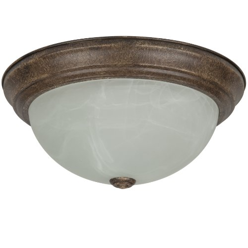 Sunlite DDB13/AL 13-Inch Dome Ceiling Fixture, Distressed Brown Finish with Alabaster Glass ()