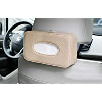 KolorFish Tissue Holder, Car Back Seat Headrest Hanging Tissue Holder with PU Leather, Multi-use Tissue Box Holder for Car Decoration (Beige)