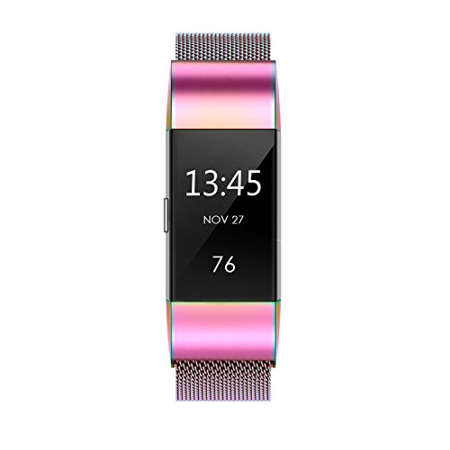 "Yutior Metal Bands Compatible with Fitbit Charge 2, Stainless Steel Metal Magnetic Replacement Wristband Small & Large (5.5"" - 9.9"") for Women Men, Silver, Champagne, Rose Gold, Black, Colorful"