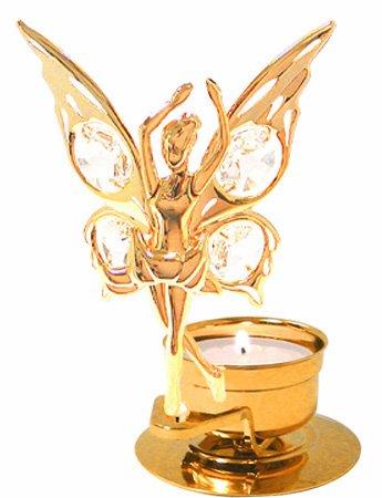 Shower Swan Crystal (24K Gold Plated Dancing Fairy Tea-Light..... With Clear Swarovski Austrian Crystal)