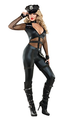 Starline Women's Excessive Force Officer Sexy Cop Costume with Hat, Black, (Starline Costumes 2016)