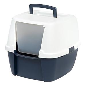 Iris Ohyama, caseta de aseo para gato, apertura frontal – Jumbo Cat Litter Box – Plástico, azul marino/blanco – 53,3 x…