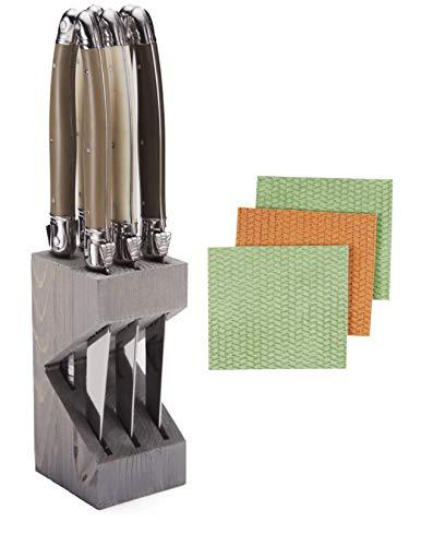 Bundle of Jean Dubost Laguiole 6 Stainless Steel Steak Knives Handles in Wooden Block With BONUS 3-pk Sponge Cloths (Linen) (Pc Colored 100 Wooden Blocks)