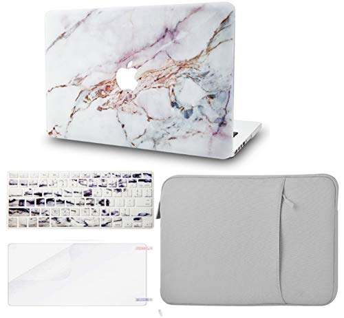 """KECC Laptop Case for MacBook Pro 15"""" (2019/2018/2017/2016) w/Keyboard Cover + Sleeve + Screen Protector (4 in 1 Bundle) Plastic Hard Shell Case A1990/A1707 (White Marble 4)"""