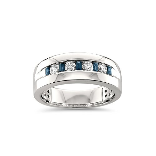 14k White Gold Sapphire Baguette & Round Diamond Men's Comfort Wedding Band Ring (1/2 cttw, H-I, SI2-I1), Size 11