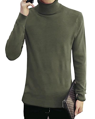 Wxian Men's Winter Slim Fit High Collar Casual Solid Color Knitting (50s Letterman Sweater)