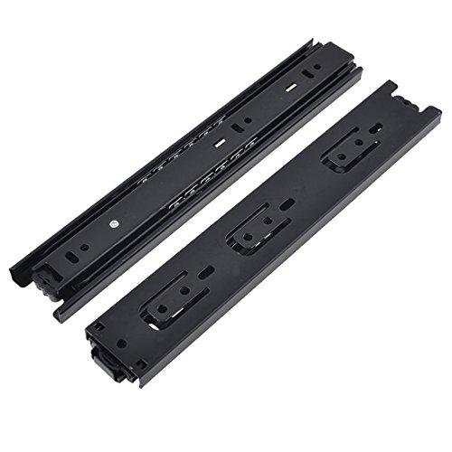 Btibpse BT9834 12 Inches Full Extension Drawer Slides / Ball Bearing Slide Rail 3 Section Black (1 Pair)