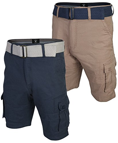 Mens Club Short - Beverly Hills Polo Club Men\'s Belted Stretch Cargo Short (2 Pack), Dark Navy/Light Khaki, Size 34'