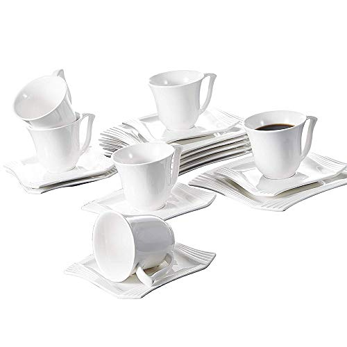 (Malacasa 18 Pieces Porcelain Dessert Plates Cups with Saucers, 8 Inch Snack Plate Cappuccino 7 Ounce Cups with 6 Inch Saucer Coffee Drinks, Cafe Mocha and Tea - Set of)
