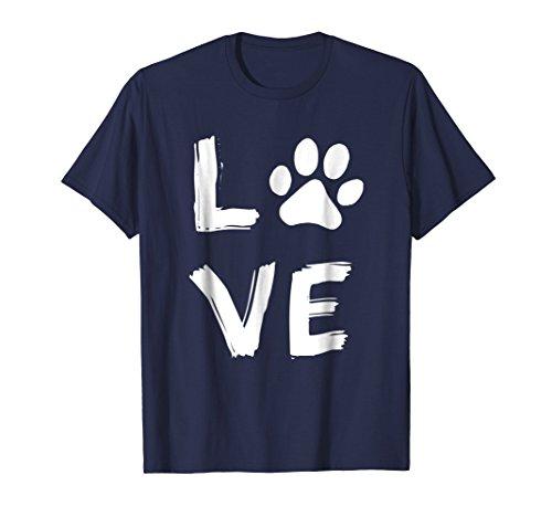 Mens Love Dog Paw Print Animal Paw Dog Lover Dog Owner T Shirt 2XL Navy (Dog Tee Mens)