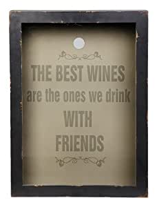 The Best Wines With Friends Wood And Glass Cork Holder Plaque by Cape Craftsmen