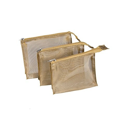 Harry D Koenig & Co Cosmetic Bag 3 Piece Set, Gold