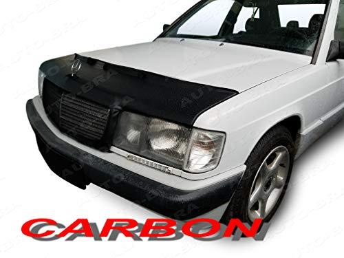 AB3-00013 CARBON FIBRE LOOK HOOD BRA for Mercedes Benz 190 W201 1982-1993 Front End Nose Mask Bonnet Bra