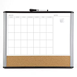 U brands MOD Magnetic Dry Erase 3-In-1 Calendar Board, 20 x 16 Inches, Black and Gray Frame