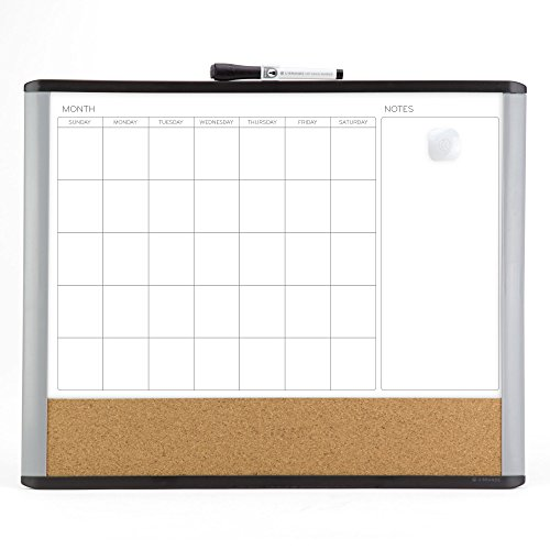 U brands MOD Magnetic Dry Erase 3-In-1 Calendar Board, 20 x 16 Inches, Black and Gray Frame by U Brands